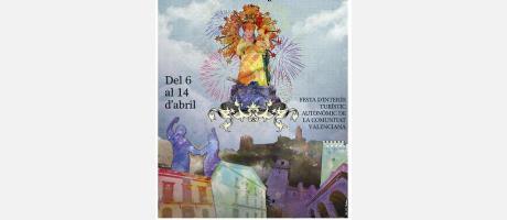 Foto de la portada del libro de fiestas con la Virgen de la Encarnación, patrona de Cullera
