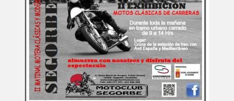 Cartel anunciador de la II Exhibición Motos Clásicas de Carreras de Segorbe.