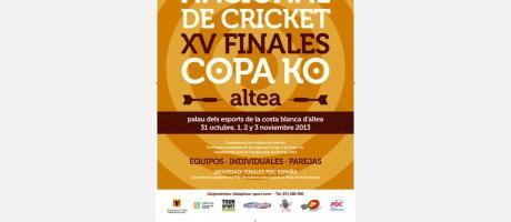Cartel XX campeonato nacional de cricket y XV finales copa ko