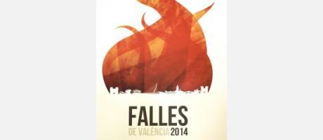 Cartel de las Fallas 2014 con fondo blanco y una gran llama