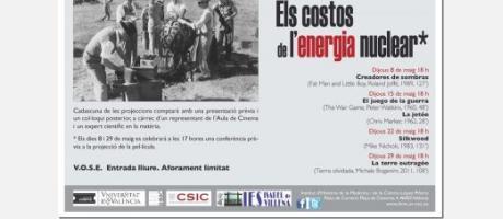 Cartel del Ciclo de cine y conferencias «Los costes de la energía nuclear» en el