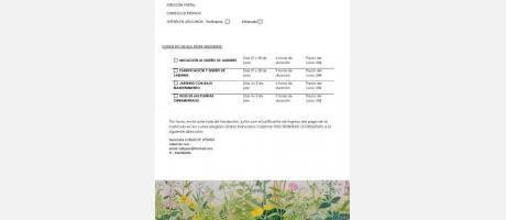 Hoja de Inscripción a los cursos de Jardineria y Paisajismo. Verano 2014. Aielo