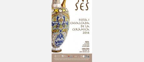 Cartel anunciador de las fiestas de manises de 2014 representado por un ánfora