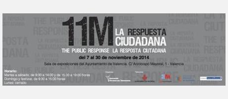Cartel anunciador de la exposición, con el nombre de la misma en gris