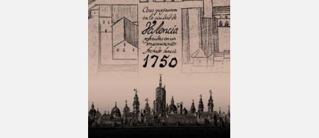 Grabado antiguo con imagen de Valencia antigua