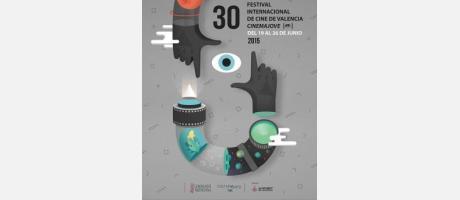Cartel oficial del 30 festival cinema jove con un ojo y en color gris