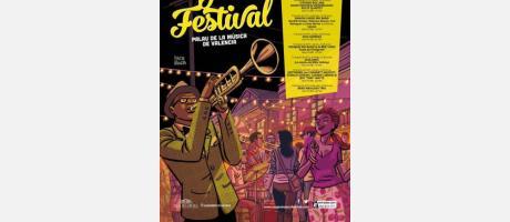 Cartel del Festival de Jazz en el Palau de la Música con un saxofonista