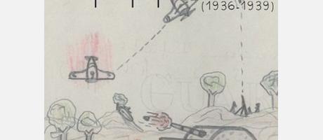 Dibujo en lápiz de colores representando un bombardeo