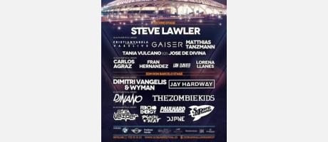 Cartel promocional del festival con nombres de los artistas invitados y paisaje