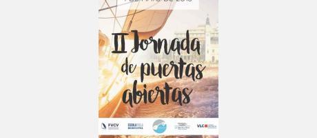 Cartel de las Jornadas de puertas abiertas con la imagen de una embarcación