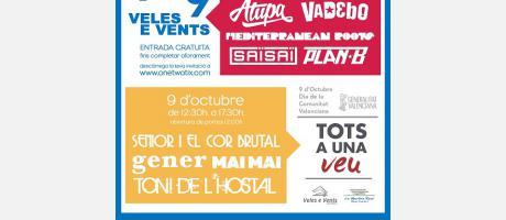 Cartel del festival de música 9 al 9 con los nombres de los grupos
