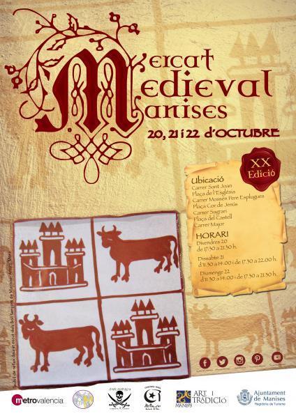 Cartell anunciador XX Mercat Medieval amb rajoleta del escut del senyors Boïl
