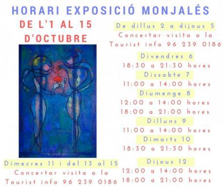 Ací podeu consultar l'horari d'obertura de l'exposició Monjalés al Palau dels Mi