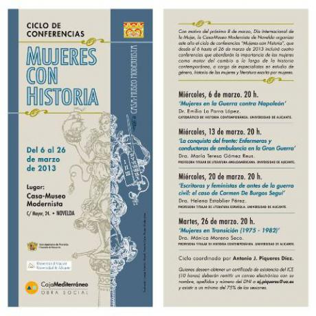 """Ciclo de Conferencias """"Mujeres con Historia"""""""