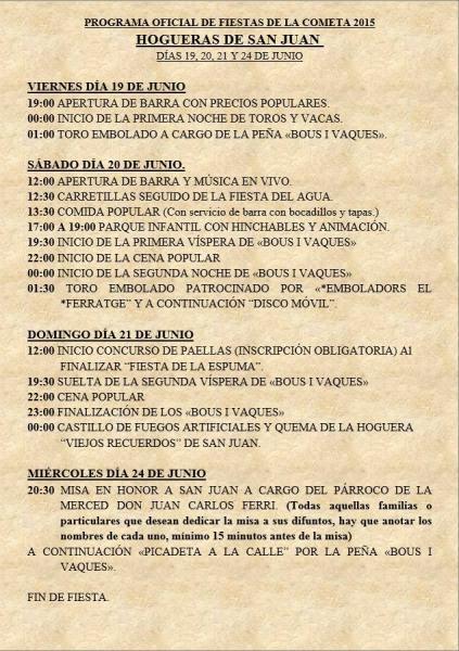 Hogueras San Juan de la Cometa Calpe 2015