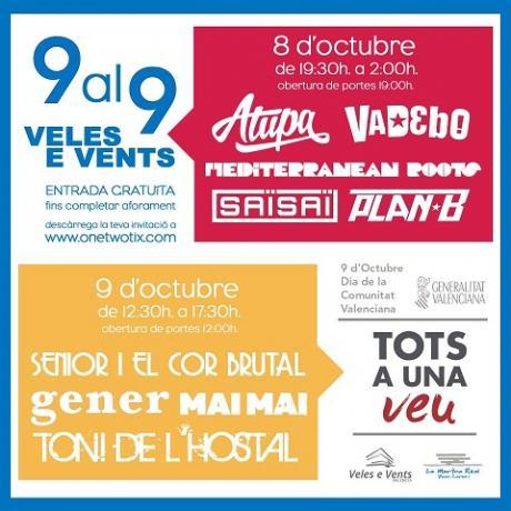 Festival de música 9 al 9 en el Veles e Vents