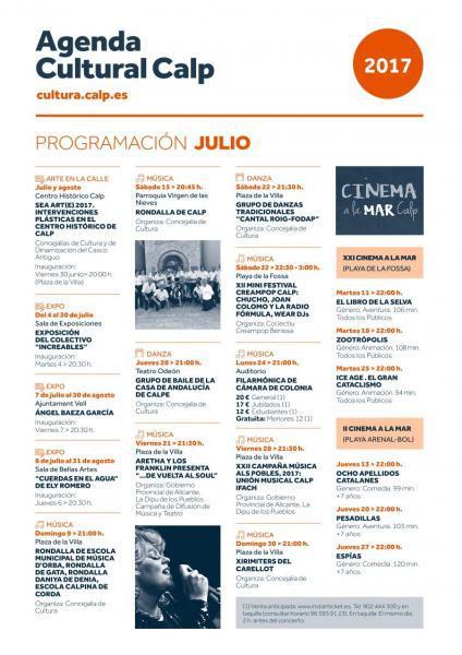 Programación Cultural Calp Julio 2017