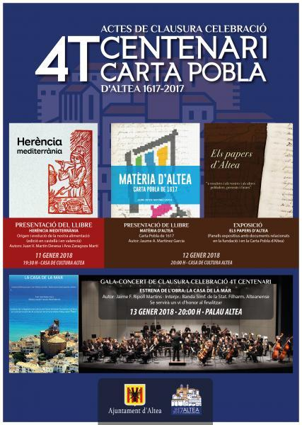 Gala-Concierto de cierre de celebración 4to centenario de la Carta Pobla de Altea 1617-2017