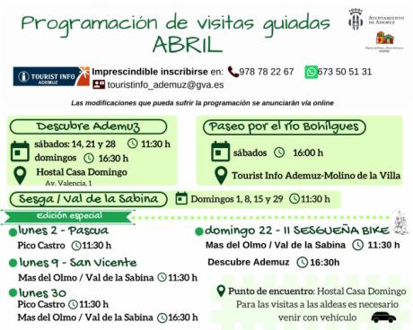 Programación de visitas guiadas a Ademuz y aldeas: ABRIL