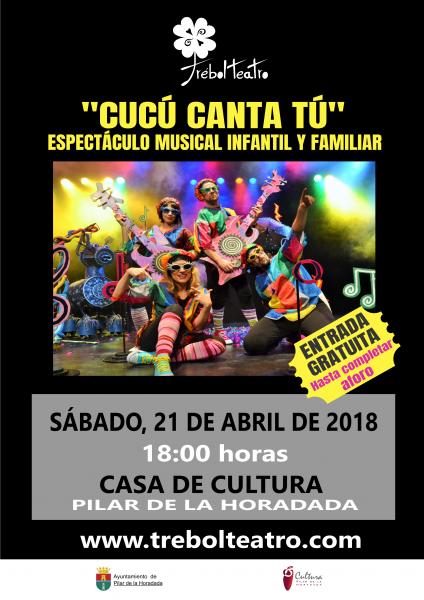 Espectáculo musical infantil y familiar 'Cucú canta tú´en Pilar de la Horadada 2018