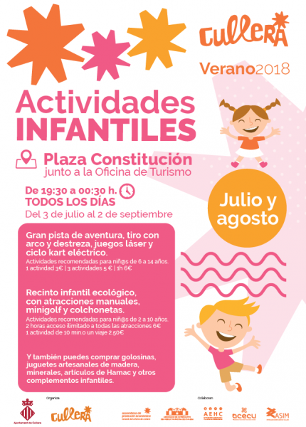ACTIVIDADES INFANTILES PLAZA CONSTITUCION CULLERA VERANO 2018
