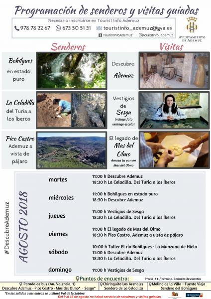 Programa de senderos y visitas guiadas a Ademuz y aldeas: AGOSTO
