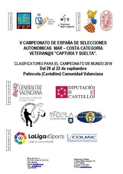 """V Campeonato de España de Selecciones Autonómicas Mar-costa Categoría Veteran@s """"CAPTURA Y SUELTA"""" Pesca - Peñíscola"""