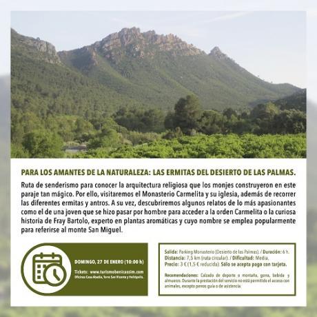 Senderismo: para los amantes de la naturaleza: las ermitas del Desierto de las Palmas