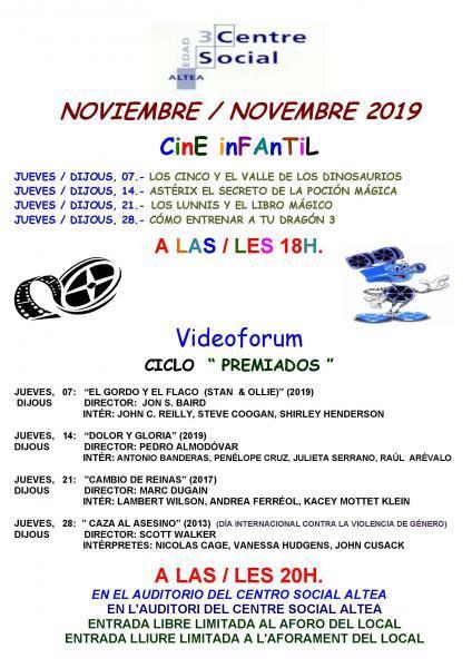 Cine infantil y videoforum noviembre