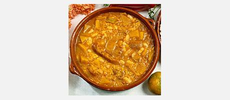 Arroz Caldoso con Cerdo, Nabos y Judías (Rice with pork, turnips and beans)